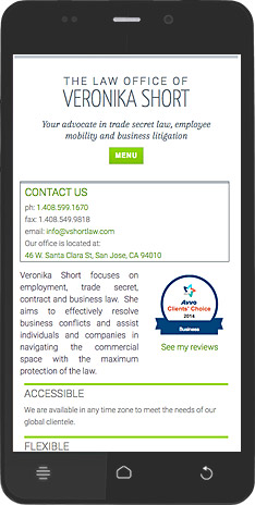 Veronika Short Law Office mobile site